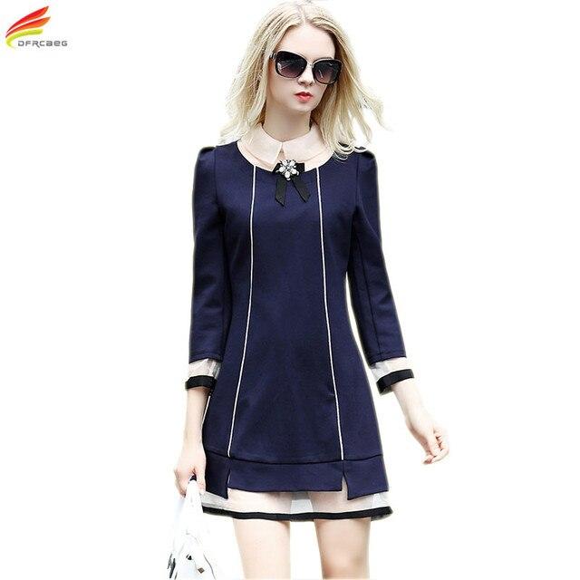 acheter femmes robe l gante 2017 automne hiver nouveau style trois quarts. Black Bedroom Furniture Sets. Home Design Ideas