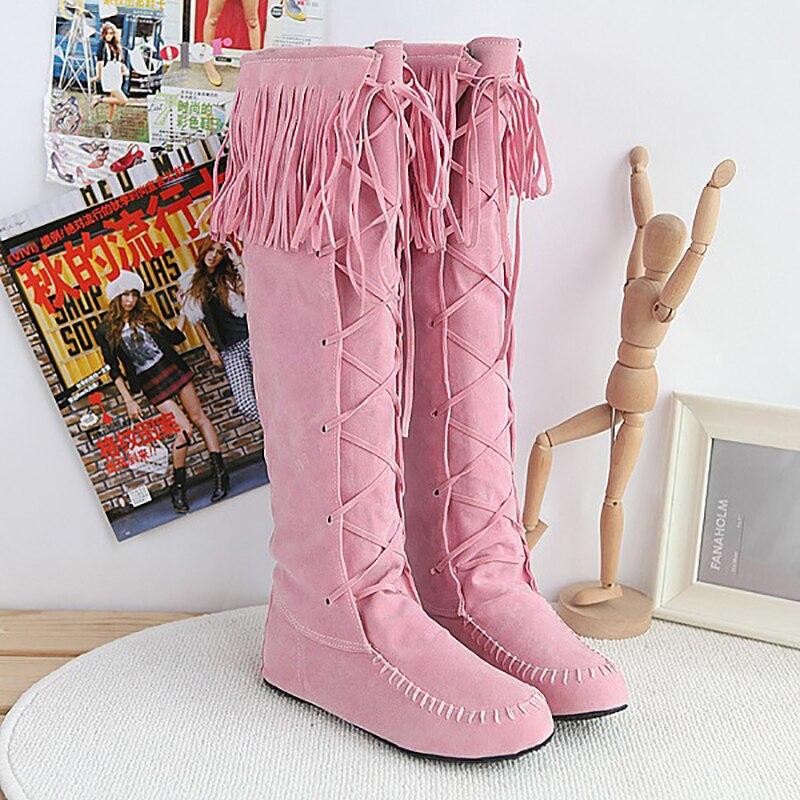 Café Lace coffee Dames De Femmes Mode Plus Mi 43 Chaussures Glands Up Taille pink Jaune Longues mollet Bottes Plat Fourrure D'hiver Black yellow Noir A345RjLq