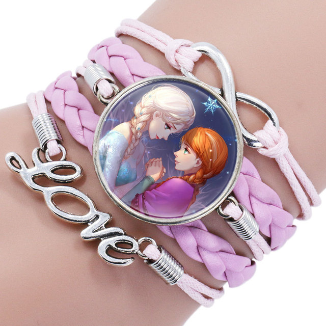 Disney princess children cartoon bracelet Frozen Elsa lovely gift up jewelry 3
