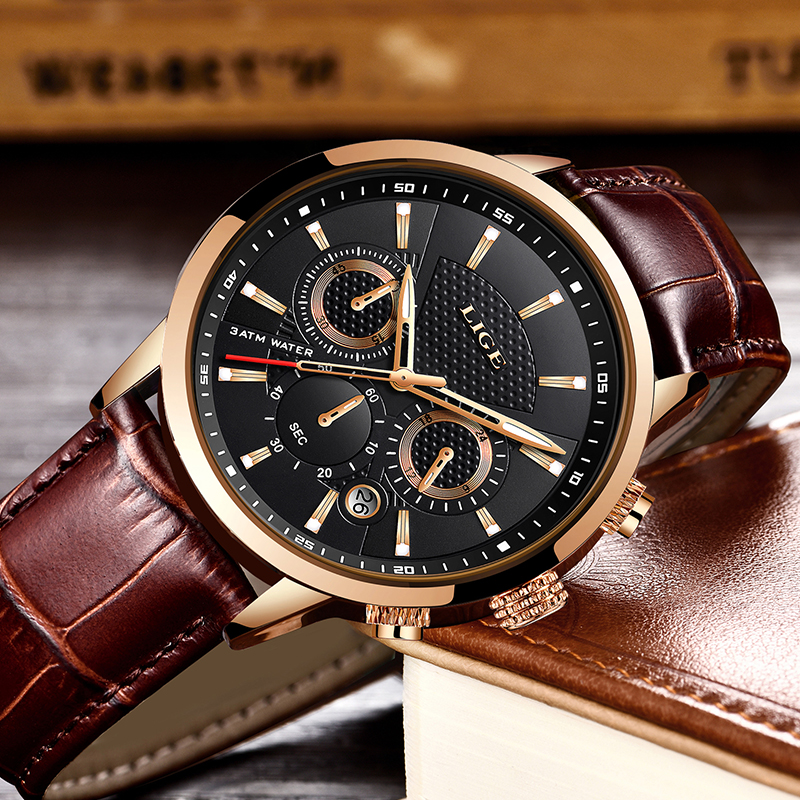 Image 3 - Reloje 2019 LIGE Men Watch Male Leather Automatic date Quartz Watches Mens Luxury Brand Waterproof Sport Clock Relogio Masculino-in Quartz Watches from Watches
