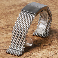 22MM Silver Black Mesh Stainless Still Watch Band With Butterfly Buckle Wristwatch Strap GD0182 3
