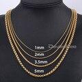 1/3. 5/5 milímetros banhado a ouro rodada Box ligação colar de aço inoxidável meninos Mens Womens cadeia colar Jewlery Unisex DLKNM128