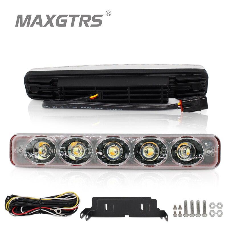 2 Pcs/lot Universel Conduite Brouillard Lampe DRL Super Bright Voiture LED light Car Feux de jour Avec Ambre Clignotants De Voiture style