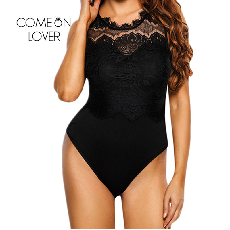 Comeonlover Sexy Bodycon Bodysuit Plus Size Lace Jumpsuit Sleeveless High Neck Ropa Mujer Cut Out Fitness Body Femme RI80472