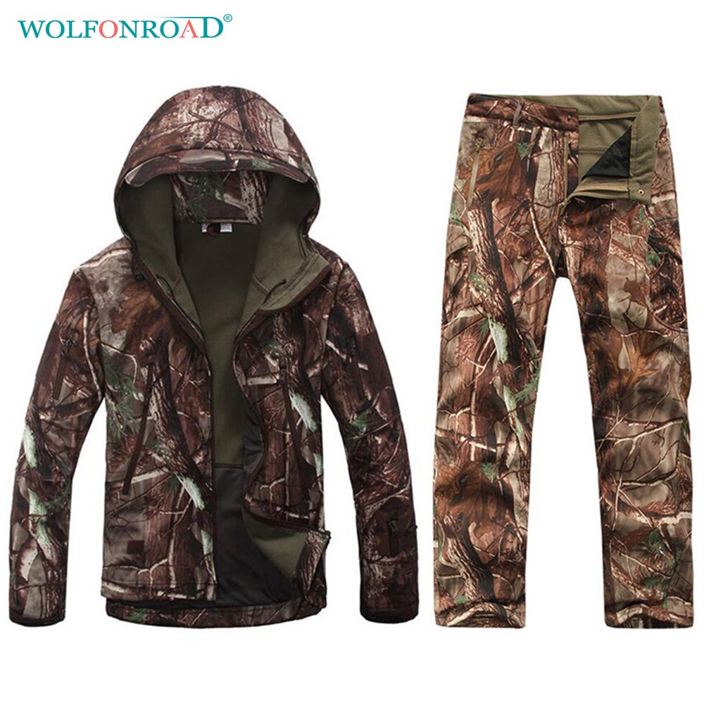 WOLFONROAD Men Waterproof Hiking Jacket & Pants Camouflage Army Uniform Hunting Suit Tactical Military Uniform Men Sport Jacket sylvia day men out of uniform