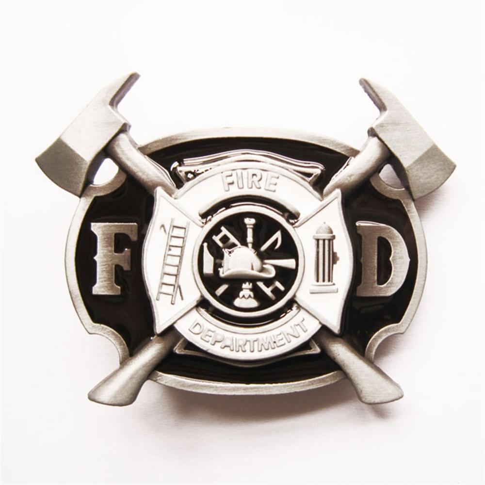 Jeansfriend New Men Belt Buckle Firefighter FD Cross Belt Buckle also Stock in US