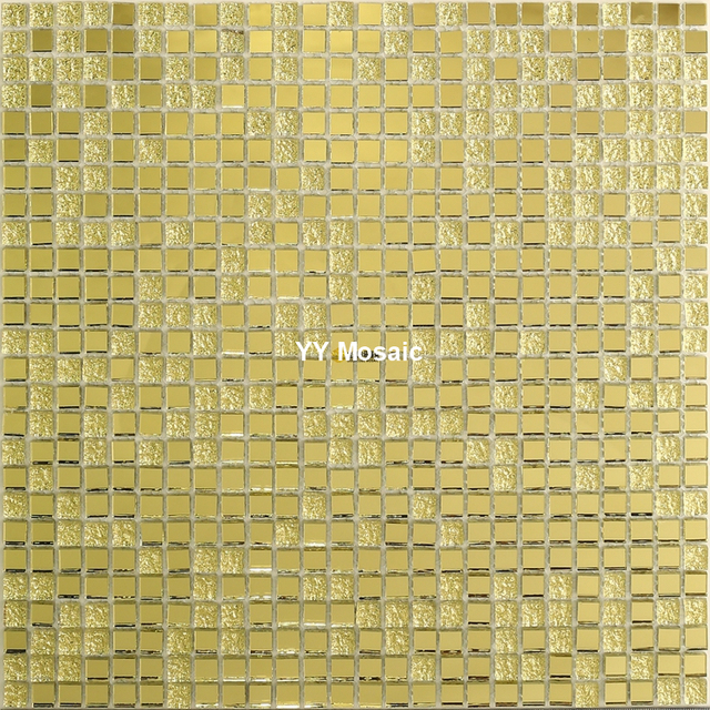 10 mm Gold Mirror Glass Mosaic Tile for Wine Cabinet Decor Swimming ...