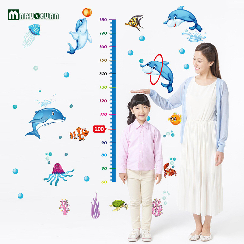 Factory Direct Dolphin Height Stickers Children S Room Decorative Wall Stickers Pvc Nursery Bathroom China