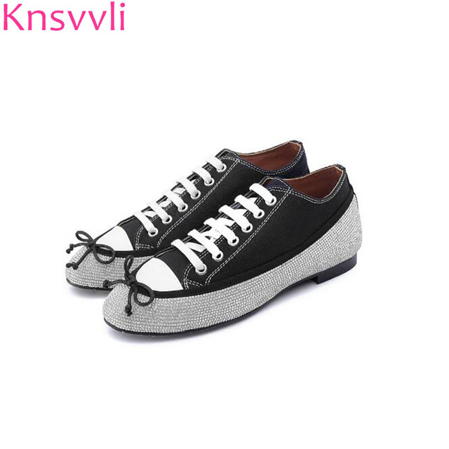 b2bbb4af96625d Knsvvli Crystal Jeweled Flat low Heel Shoes Woman Black Patchwork Rhinestone  Bordered lace-up Casual flats Canvas Shoes Women