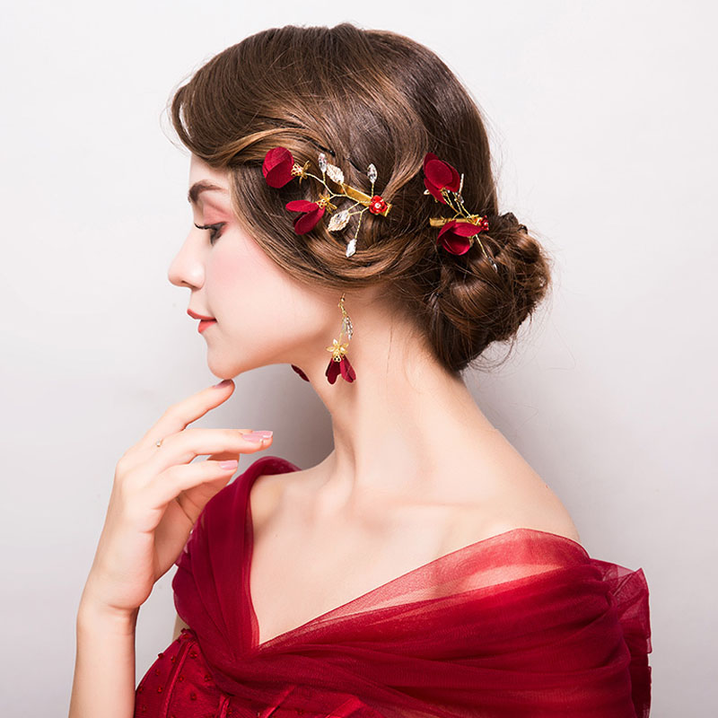 Set-Accessories Flowers-Ornaments Jewelry Roses Bride Wedding Headdress of Red Hairpin-Clip