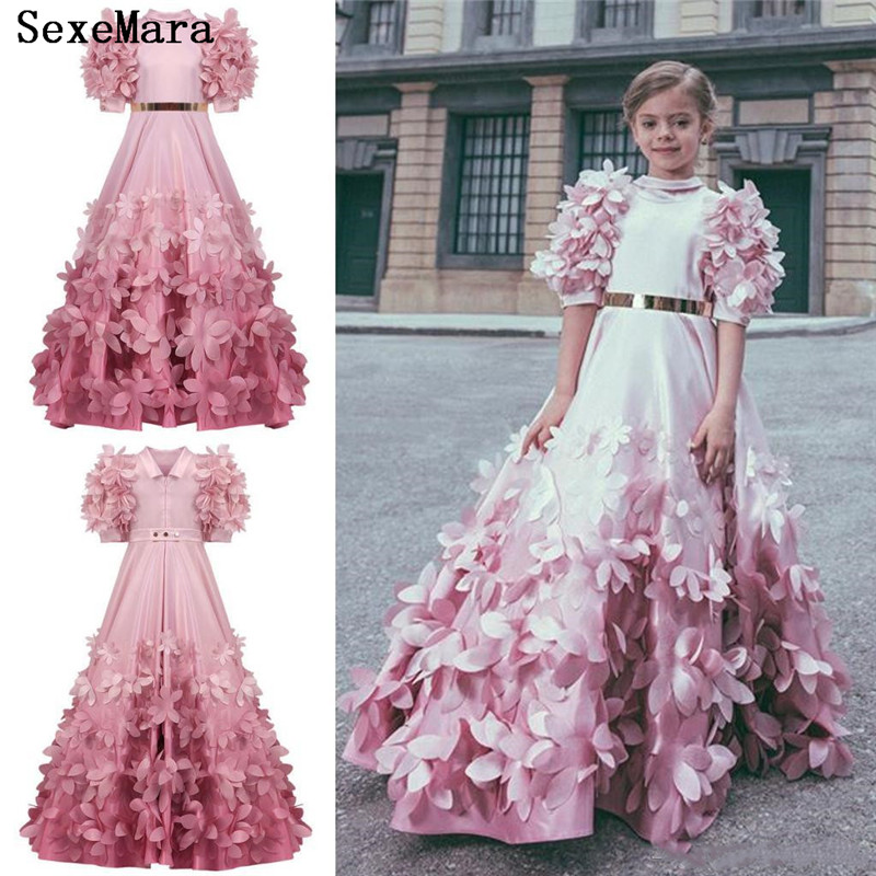 Luxury Pink 3D Flowers Applique Long Sleeve Flower Girls Dresses Pageant Gowns Gorgeous Puffy Kids Prom Dresses Custom Made SizeLuxury Pink 3D Flowers Applique Long Sleeve Flower Girls Dresses Pageant Gowns Gorgeous Puffy Kids Prom Dresses Custom Made Size