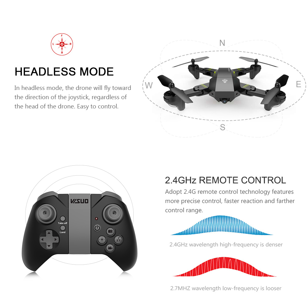 US in Stock for VISUO XS809HW Wifi FPV 2.0MP 720P 120 FOV Wide Angle Camera Drone Selfie Foldable RC Drone Quadcopter RTF Dron (1)