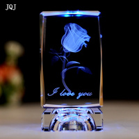 JQJ 3D Laser Engraved Rose Flower Figurines Crystal Glass Cube Craft Supplies LED Light Wedding Birthday