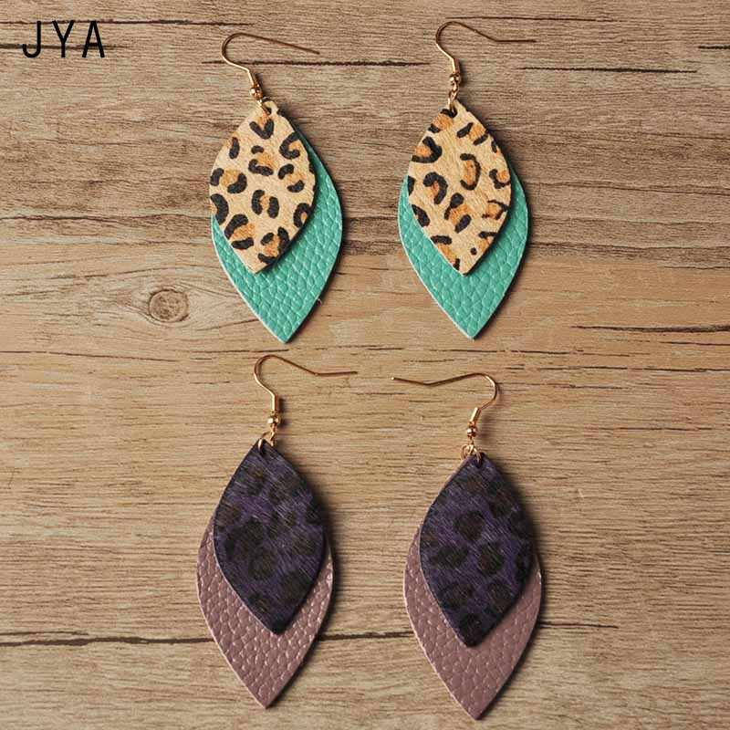 cf31e037da22f JYA Leopard Leather Earrings for Women Real Feather Waterdrop Big Long  Earring Hanging Fashion Leaf Dangle Ear Drops Autumn 2018
