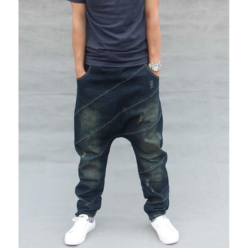 Men Baggy Denim Harem Pants Male Loose Low Drop Crotch Jeans Hip Hop Street Dance Drawstring Trousers Plus Size Joggers A60301