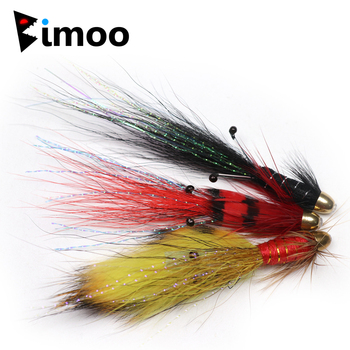 Bimoo 12PCS Conehead Super Fire Tiger / Black/ Red Francis Snaelda Salmon Tube Flies & Trebles image