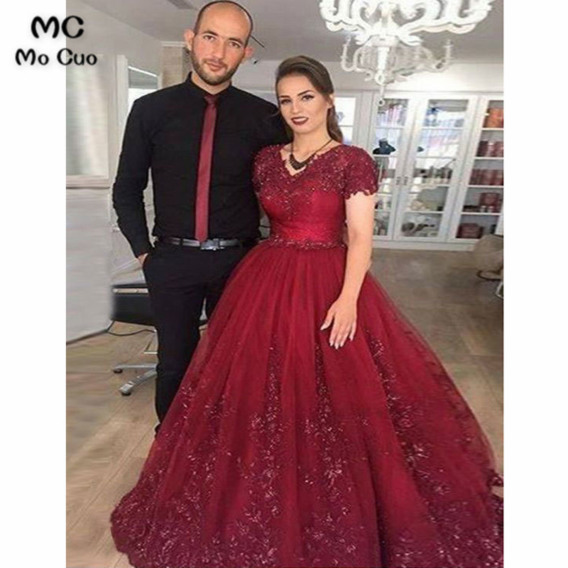 Luxuries 2018 Burgundy Ball   Prom     dresses   Long with Appliques Short Sleeves Tulle Graduation   dresses   Evening   Prom     Dress   for Women