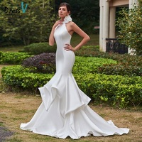Dressv 2017 Mermaid Wedding Dress High Neck Sleeveless Sweep Train Pick Ups Trumpet Long Bridal Gown