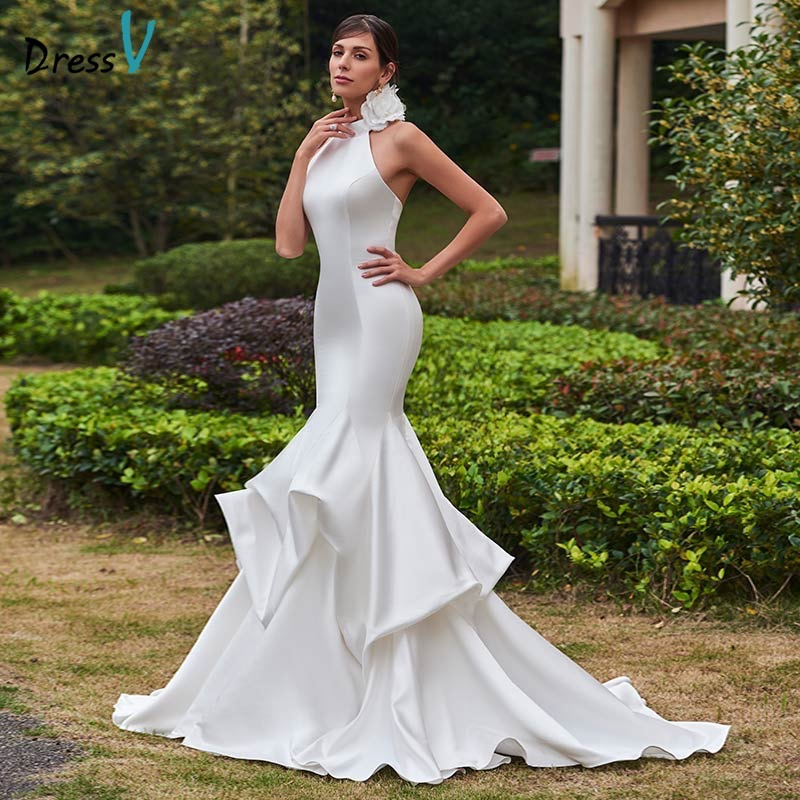 Dressv 2017 mermaid wedding dress high neck sleeveless for Trumpet wedding dress with long train