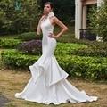 Dressv 2017 mermaid wedding dress high neck sleeveless sweep train pick ups trumpet long bridal gown outdoor ivory wedding dress