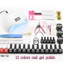 Nail Sets SUN5 48W UV LED Nail Lamp 12 color Soak Off Gel Nail Polish Kit Manicure Tool Kits UV Extension Gel Set Nail Art(China)