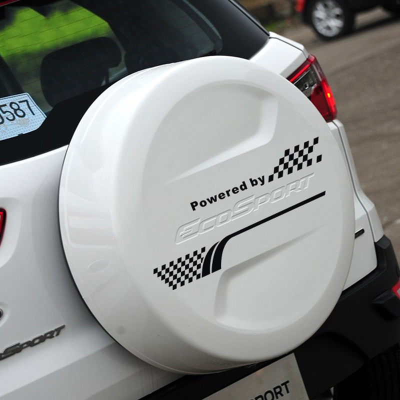 Sport Grid Style Die Cut Vinyl Sticker On Car Spare Wheel