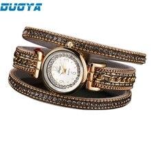 DUOYA 2017 New Bracelet Watch Women Casual Quartz Watch Rhinestone PU Leather Ladies Dress Watches Fashion Wristwatch Gift B2