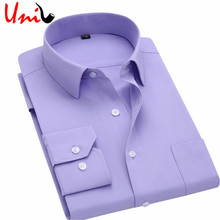 Long Sleeve Slim Men Dress Shirt 2016 Brand New Fashion Designer High Quality Solid Male Clothing Fit Business Shirts 4XL YN045