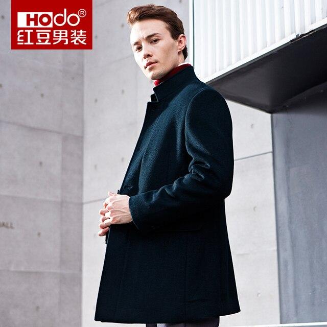 Lange Zwarte Winterjas.Hodo Wollen Overjas Winterjas Mannen Lange Zwarte Mens Overjas