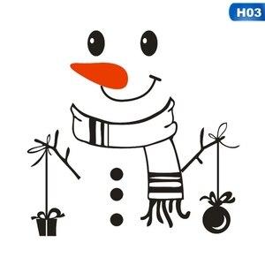 Image 3 - Наклейка «Снеговик» передняя дверь на холодильник Рождественский Декор виниловая наклейка на стену, Рождественская Наклейка на стену милый снеговик для украшения праздника