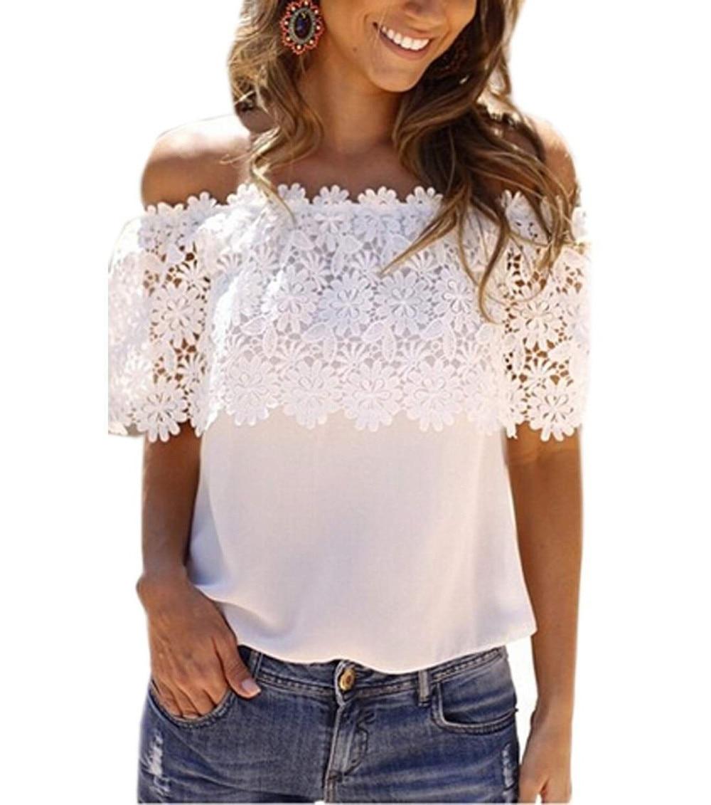 2018 T Shirt Women Europe America T-Shirt Slash Neck Lace Stitching Flower Crochet Hollow Out Summer Tees 5XL Off Shoulder Tops