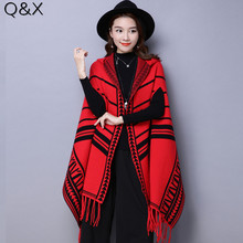 2018 Brand new shawl women autumn and winter Striped cloak knitted cardigan woman jacket Red Poncho with Hat