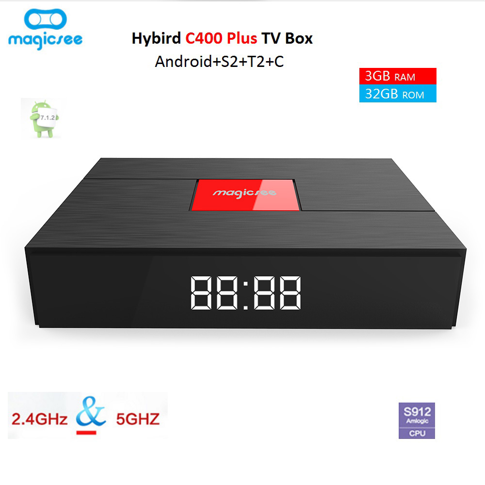 Magicsee C400 Plus Hybird DVB T2 DVB S2 + C TV Box Android 7.1.2 Amlogic S912 3g + 32g 4 k Smart Set Top Box 2.4g WiFi PVR Enregistrement