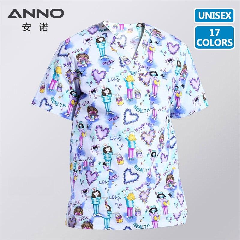 5XL14 colores imprimir uniformes médicos mujeres médico ropa de algodón de enfermería uniforme de trabajo dental hospital uniformes camiseta