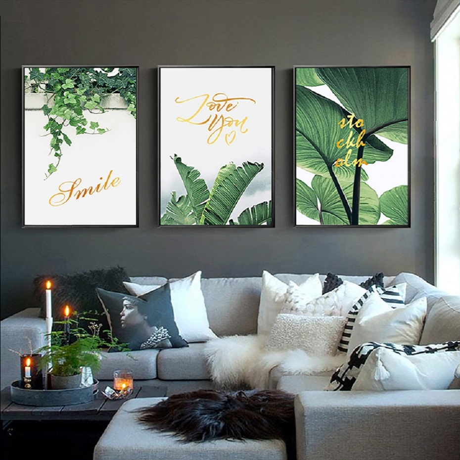 Wall Art Prints And Posters ᗑnordic Refresh Green Leaves Plants Wall Art Canvas Paintings