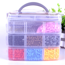 1 set 3 Layers Perler hama 5mm Perler Beads Funny Pegboards Tweezers box Children Educational Toys