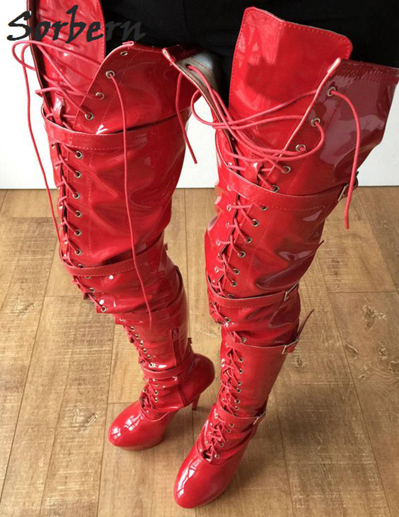 7ce8b414dc7 Sorbern Red Shiny 80Cm Crotch Thigh High Boots With Heels Custom Wide Calf  Boots For Women. sku  32960031043