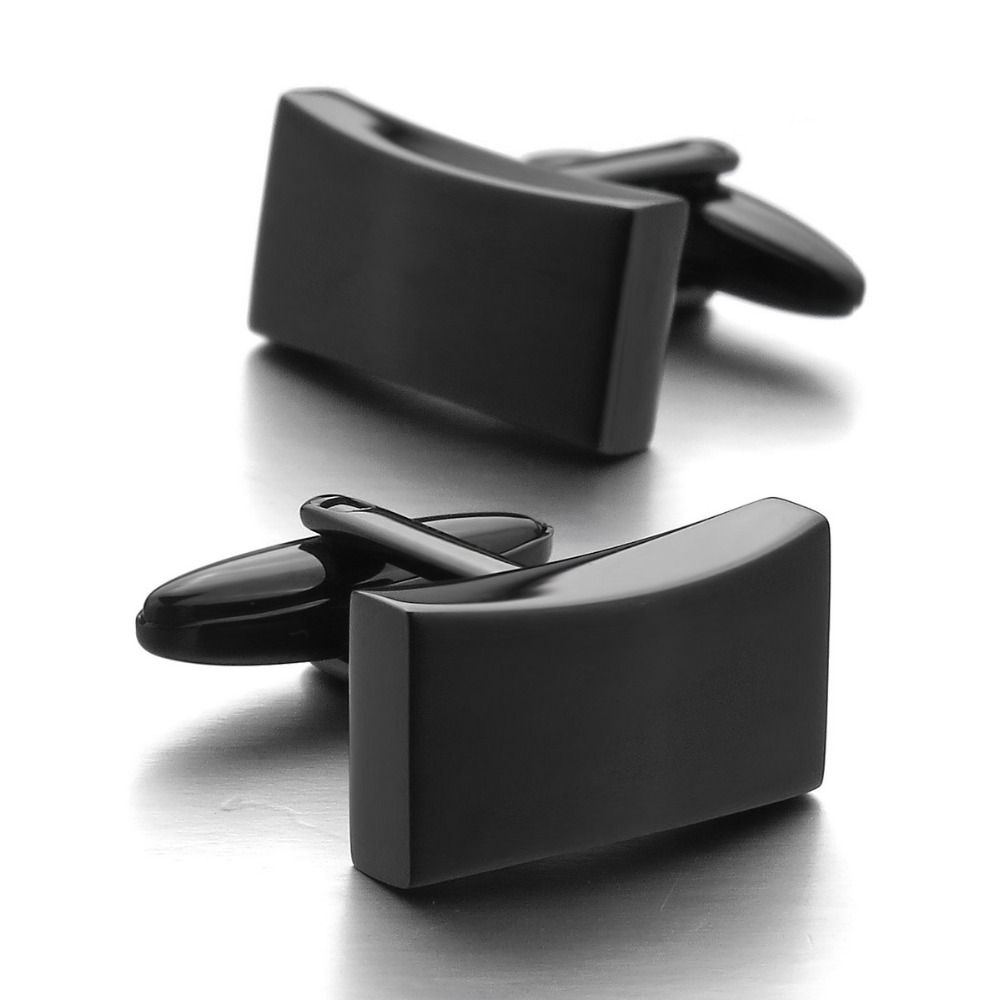 2017 hot sales Stainless Steel Cufflinks Black Classic Wedding Business 1 Pair Set