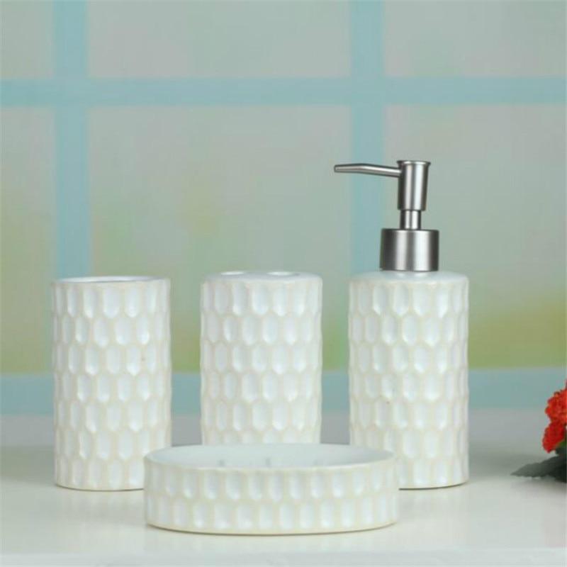 European Ceramic Bathroom Set Accessories Bath Kit 4PCS/Set Simple White  Color Toothpaste Holder Dispenser