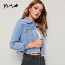 ROMWE Frayed Hem Flap Pocket Jeans Jacket Women Spring Casual Long Sleeve Cropped Jacket Blue Single Breasted Denim Jacket Coat недорого