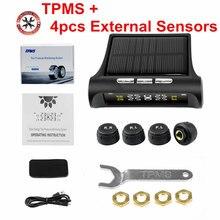 Sistema de supervisión de presión de neumáticos inalámbrico en tiempo Real, alarma de presión de neumáticos de TPMS Inteligente, cargador de coche con 4 sensores, 12V