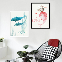 Nordic Style Dolphin Painting by Number DIY Oil Paint 40X50CM Canvas Modern Art Dolphin Lover Oil Painting Home Decor Gift