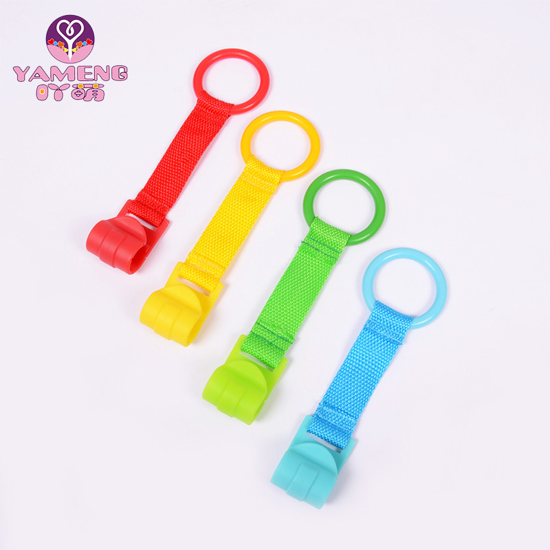 4pcs/set Crib Auxiliary Standing Ring Balance Training 4 Colors Hook Game Bed Pull Ring Baby Toys Universal Baby Bed Hook Crib