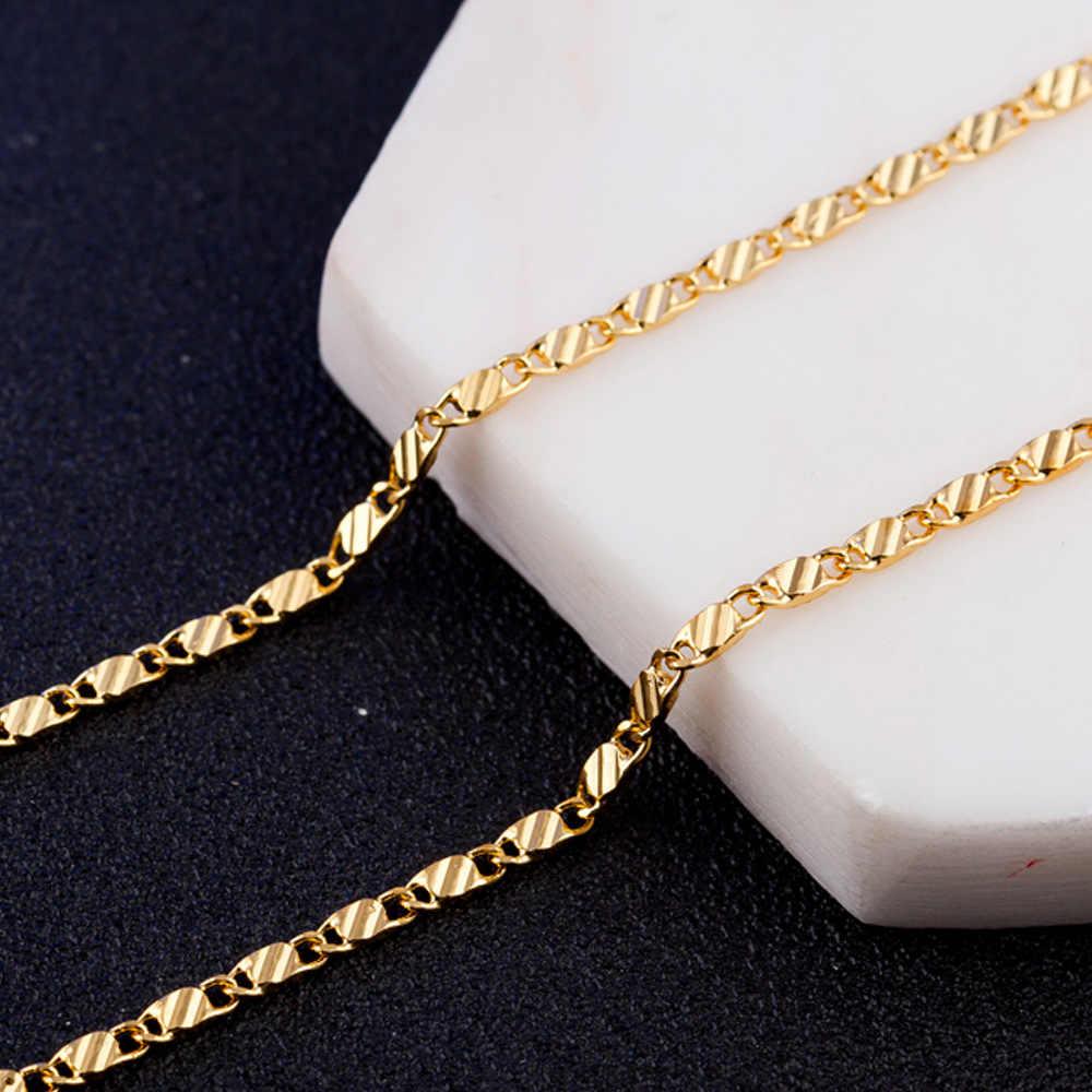 2mm płaski łańcuszek naszyjnik dla kobiet mężczyzn naszyjniki biżuteria i wisiorki Charms biżuteria 16 18 20 22 24 26 28 30 cali hurtownie M175