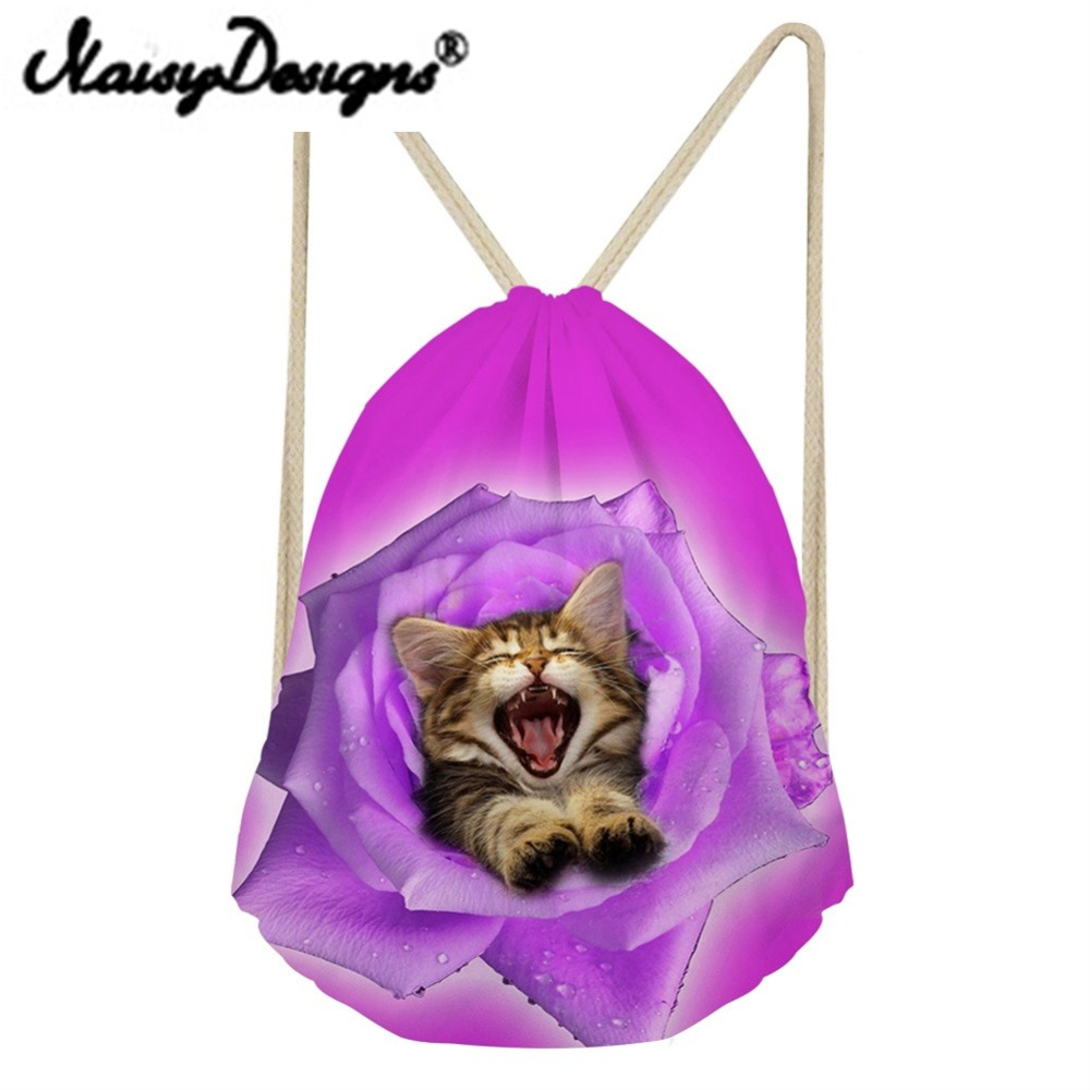 NOISYDESIGNS 3D animals and flowers American bobtail Printing Drawstring Pouch Storage Kids Girls School bag Travel