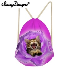 NOISYDESIGNS 3D animals and flowers American bobtail Printing Drawstring Pouch Storage Kids Girls School bag Travel Mochila new