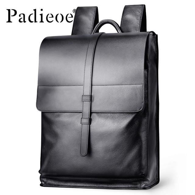 aecd38a6e45c Padieoe Genuine Leather Backpack Women Fashion School Bag for Teenagers  Casual Rucksacks Men Leather Laptop Brand Mochila Bags