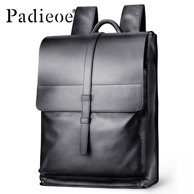 Padieoe Genuine Leather Backpack Women Fashion School Bag for Teenagers Casual Rucksacks Men Leather Laptop Brand Mochila Bags image