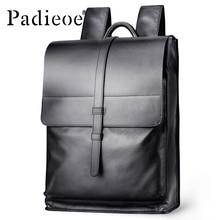 Padieoe Genuine Leather Backpack Women Fashion School Bag for Teenagers Casual Rucksacks Men Leather