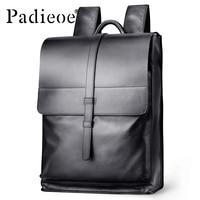 Padieoe Genuine Leather Backpack Women Fashion School Bag for Teenagers Casual Rucksacks Men Leather Laptop Brand Mochila Bags